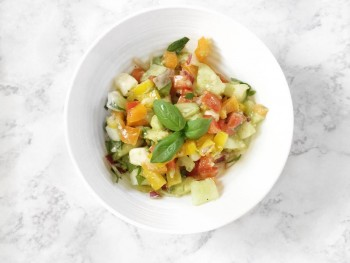 Recipe: Avocado, Veggie Salad with Italian Olive Oil Dressing