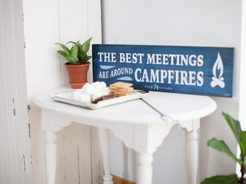 The Best Meetings Are Around Campfires: Pure Michigan Lake Sign Giveaway